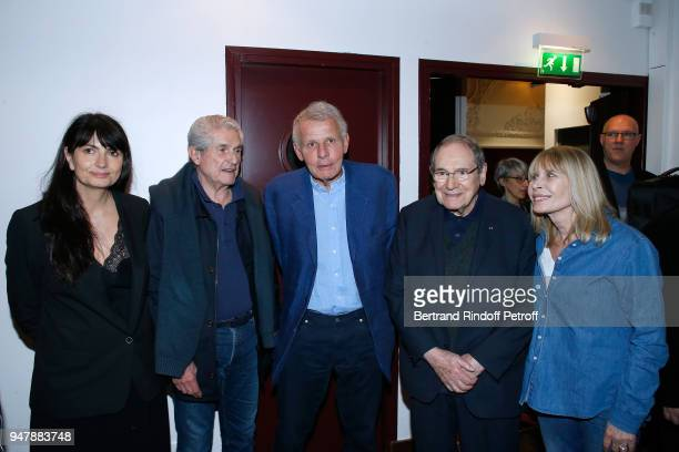 Valerie Perrin Claude Lelouch Patrick Poivre d'Arvor Robert Hossein and his wife Candice Patou pose after the Patrick et ses Fantomes Theater Play at...