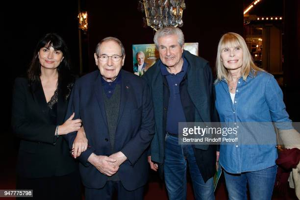 Valerie Perrin Robert Hossein Claude Lelouch and Candice Patou attend the Patrick et ses Fantomes Theater Play at Casino de Paris on April 17 2018 in...