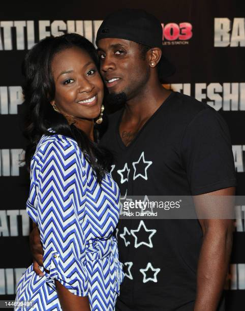 Valerie Phillips and Olympic Long Jump Medalist Dwight Phillips attend V103 Private Atlanta BATTLESHIP Screening at AMC Phipps Plaza on May 17 2012...