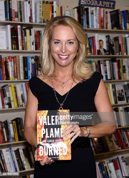 Valerie Plame signs copies of her book Burned at Bookends Bookstore on October 22 2014 in Ridgewood New Jersey