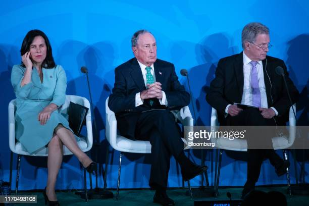 Valerie Plante, mayor of Montreal, from right, Michael Bloomberg, founder of Bloomberg LP, and Sauli Niinisto, Finland's president, attend during the...