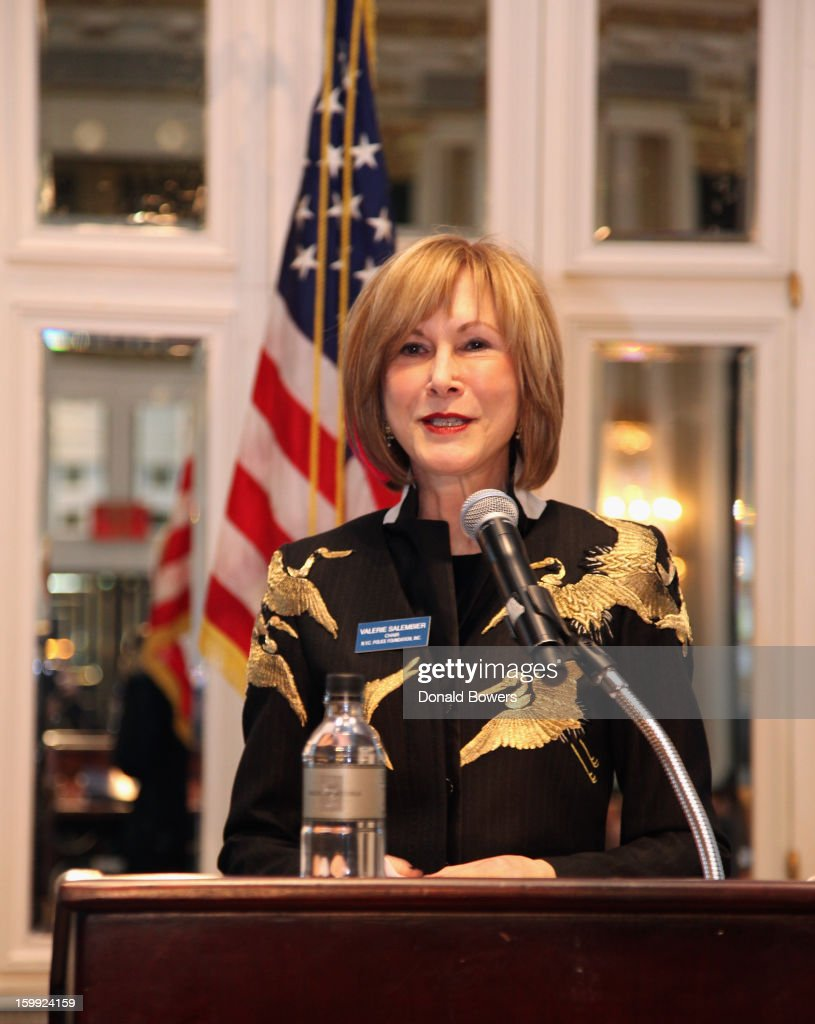 Valerie Salembier makes introductary remarks about Police Commissioner Ray Kelly before he delivers The State of the NYPD address during The N.Y.C Police Foundation Breakfast on January 23, 2013 at The Waldorf-Astoria Hotel in New York City.