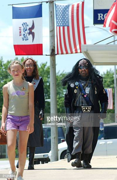 Valerie Smith dressed as a Klingon ambassador and Tom Webster dressed as Klingon Lt K'Mach TaiTrekkan walk downtown during Trek Fest XIX June 28 2003...