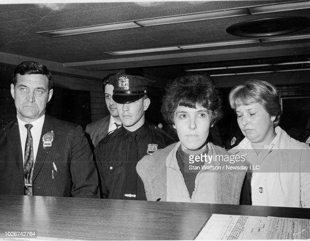 Valerie Solanas hears charges against her in the shooting of artist Andy Warhol on June 3 1968 at the 13th Precinct in Manhattan