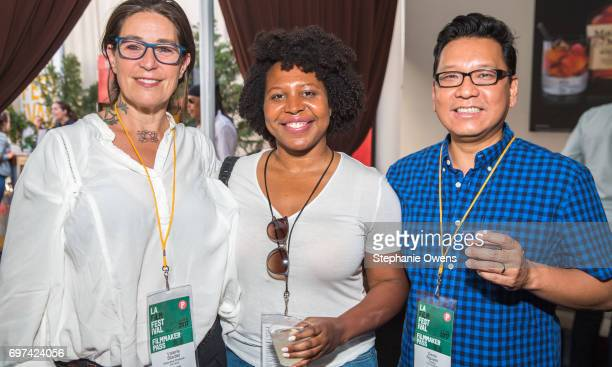 Valerie Stadler Angel Kristi Williams and Derek Nguyen attend the Women Filmmakers Event during 2017 Los Angeles Film Festival at Festival Lounge on...