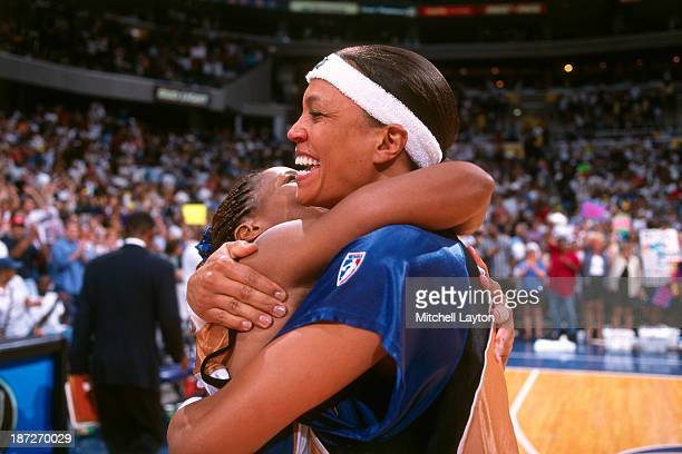 Valerie Still of the Washington Mystics celebrates circa 1999 at the Verizon Center in Washington DC NOTE TO USER User expressly acknowledges and...