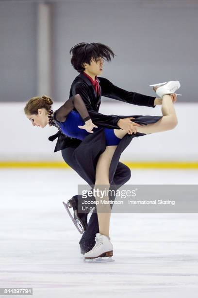 Valerie Taillefer and Jason Chan of Canada compete in the Junior Ice Dance Free Dance during day 3 of the Riga Cup ISU Junior Grand Prix of Figure...