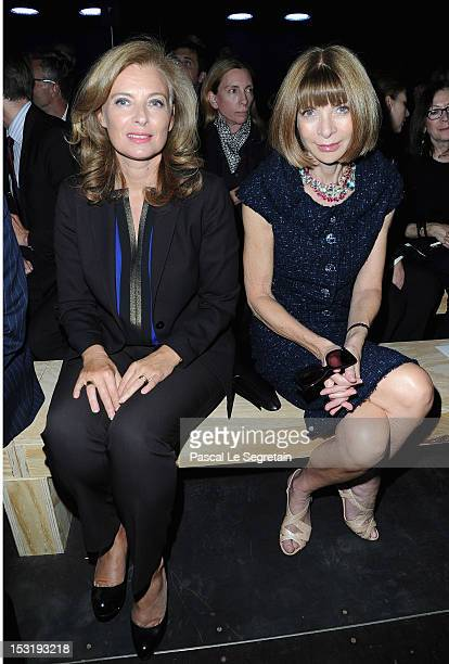 Valerie Trierweiler and Anna Wintour attend the Saint Laurent Spring / Summer 2013 show as part of Paris Fashion Week on October 1 2012 in Paris...