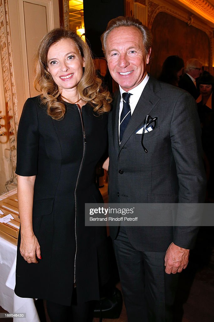Valerie Trierweiler and Edouard Vermeulen attend the 50th Anniversary party of Stephane Bern, called 'Half a century, it's party', celebrated at Angelina on November 14, 2013 in Paris, France.
