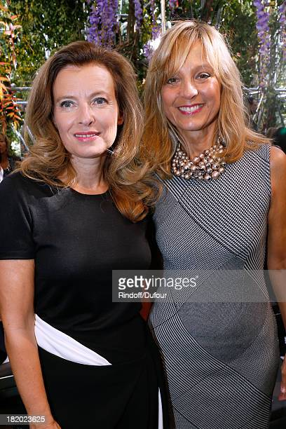 Valerie Trierweiler and Helene Arnault attend the Christian Dior show as part of the Paris Fashion Week Womenswear Spring/Summer 2014 held at Musee...
