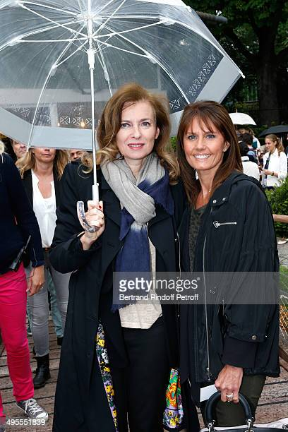 Valerie Trierweiler and journalist at Telematin Isabelle Chalencon attend the Roland Garros French Tennis Open 2014 - Day 11 on June 4, 2014 in...