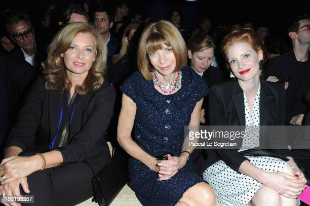 Valerie Trierweiler Anna Wintour and Jessica Chastain attend the Saint Laurent Spring / Summer 2013 show as part of Paris Fashion Week on October 1...