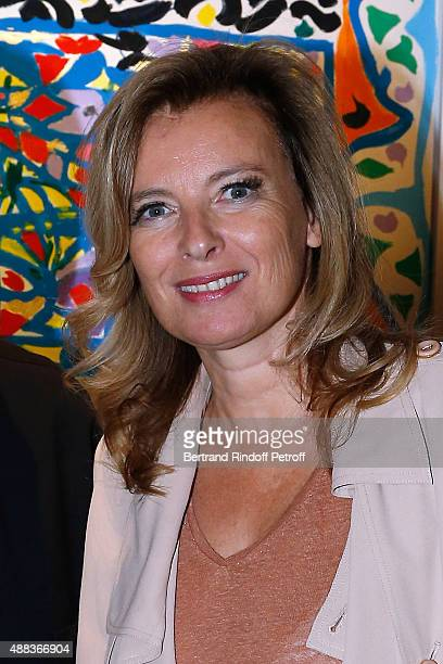 Valerie Trierweiler attends the 'Paintings Poems from Tahar Ben Jelloun Furniture Scriptures from CSaccomanno ODayot' Press Preview at Galerie du...