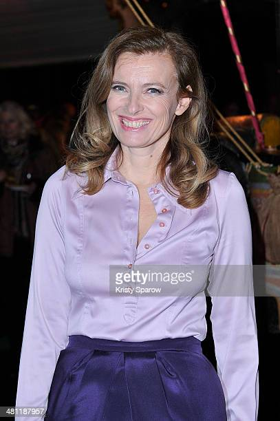 Valerie Trierweiler attends the Secours Populaire Francais charity party at the Musee Des Arts Forains on March 28 2014 in Paris France