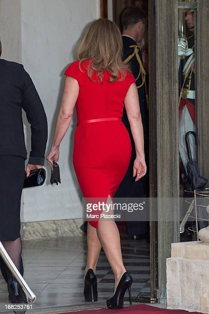 Valerie Trierweiler poses to attend a state dinner at Palace Elysee on May 7 2013 in Paris France