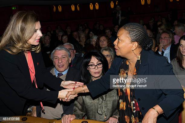 Valerie Trierweiler the wife of French President Francois Hollande greets French Justice Minister Christiane Taubira during the award giving ceremony...