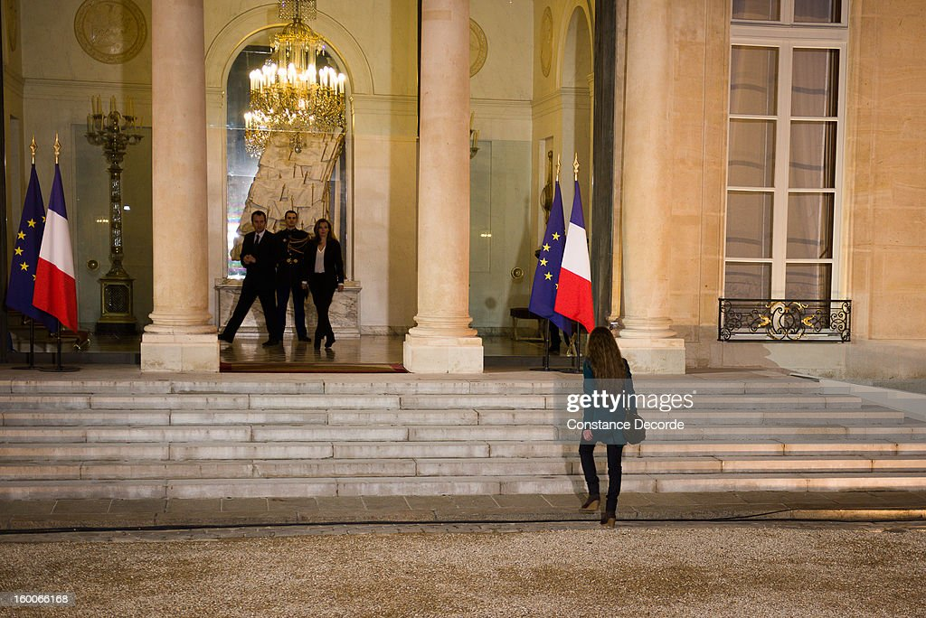 Valerie Trierweiler welcomes Florence Cassez at the Elysee Palace on January 25, 2013 in Paris, France. A Supreme Court in Mexico voted to free Florence Cassez, 38, from France who was serving out a 60-year sentence for kidnapping. The decision was made after it was decided her rights were violated by a television broadcast of a staged raid on the kidnappers by the police when in fact the alleged kidnappers, including Cassez, were arrested the previous day on a highway.