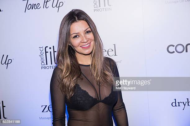 Valerie Urteaga poses for a photo in the Tone It Up Wellness Lounge during the Sundance Film Festiva on January 21, 2017 in Park City, Utah.
