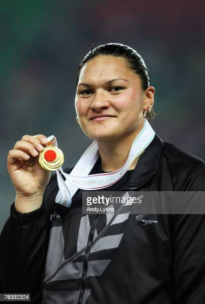 Valerie Vili of New Zealand celebrates winning the gold medal in the Women's Shot Put final on day two of the 11th IAAF World Athletics Championships...
