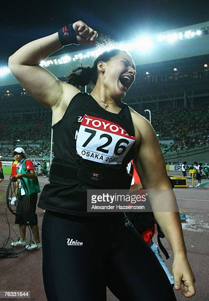 Valerie Vili of New Zealand celebrates winning the Women's Shot Put final on day two of the 11th IAAF World Athletics Championships on August 26,...