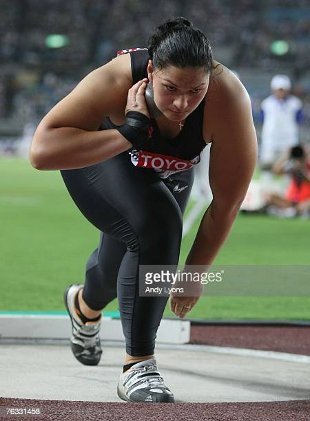 Valerie Vili of New Zealand competes during the Women's Shot Put final on day two of the 11th IAAF World Athletics Championships on August 26, 2007...