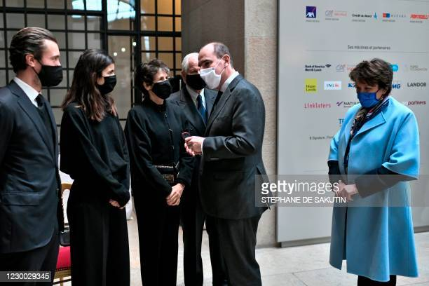 Valerie-Anne Giscard d'Estaing , daughter of the late former French President Valery Giscard d'Estaing speaks with French Prime Minister Jean Castex...