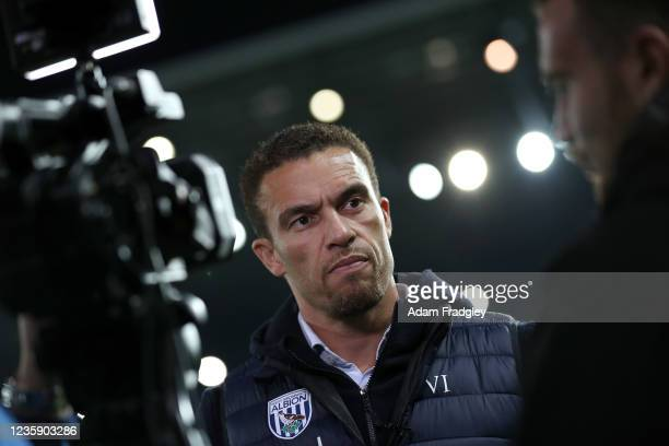 Valerien Ismael Head Coach / Manager of West Bromwich Albion is interviewed after the Sky Bet Championship match between West Bromwich Albion and...