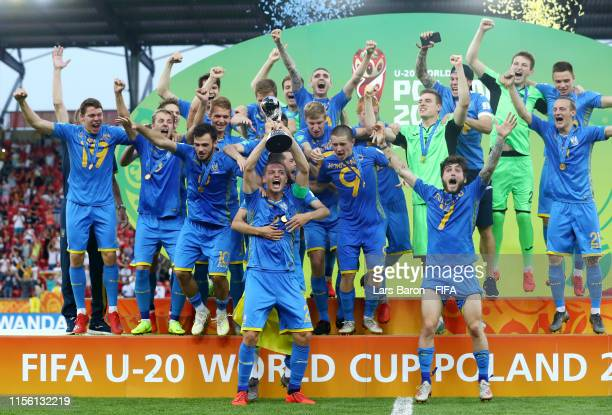 Valerii Bondar of Ukraine lifts the FIFA U20 World Cup Trophy following his team's victory in the 2019 FIFA U20 World Cup Final between Ukraine and...