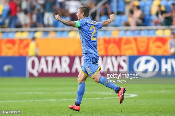 Valerii Bondar of Ukraine seen celebrating after the FIFA U-20 World Cup match between Ukraine and Italy in Gdynia. .
