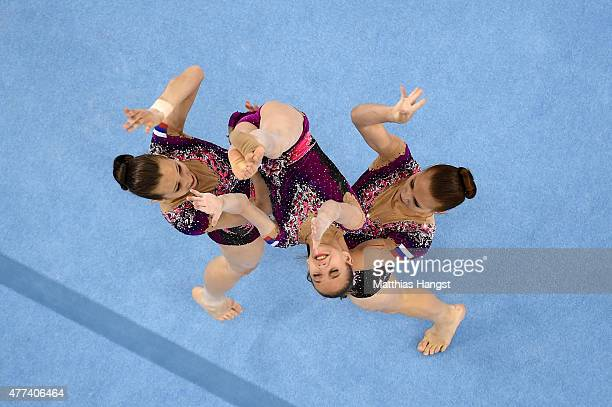 Valeriia Belkina Yulia Nikitina and Zhanna Parkhometic of Russia compete in the Gymnastics Acrobatic Women's Group Dynamic during day five of the...