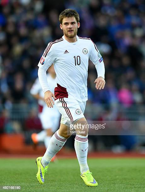 Valerijs Sabala of Latvia celebrates his goal during the UEFA EURO 2016 Qualifier match between Iceland and Latvia at Laugardalsvollur National...