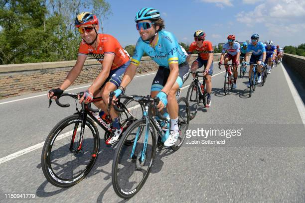 Valerio Agnoli of Italy and Team Bahrain Merida / Manuele Boaro of Italy and Astana Pro Team / during the 102nd Giro d'Italia 2019 Stage 11 a 221km...
