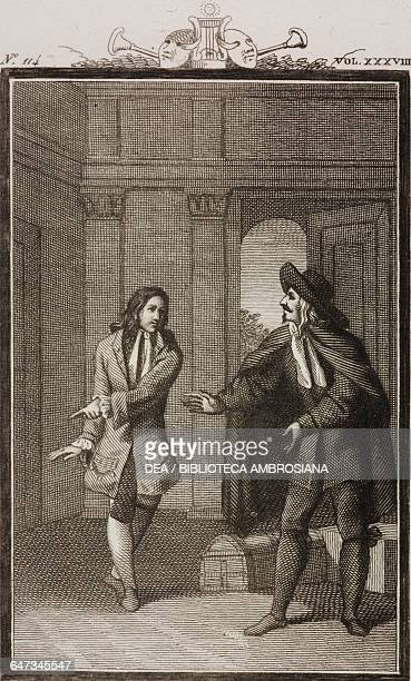 Valerio and Moliere engraved by Antonio Viviani from a drawing by G Steneri from Moliere Act III Scene 9 Comedies Volume 38 by Carlo Goldoni