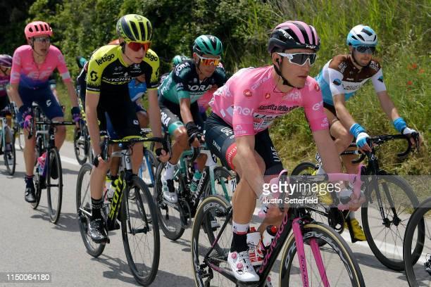 Valerio Conti of Italy and UAE - Team Emirates Pink Leader Jersey / Lucas Hamilton of Australia and Team Mitchelton - Scott / Francois Bidard of...