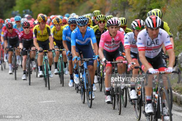 L'AQUILA ITALY MAY 17 Valerio Conti of Italy and UAE Team Emirates Pink Leader Jersey / Andrey Amador Bikkazakova of Costa Rica and Movistar Team /...