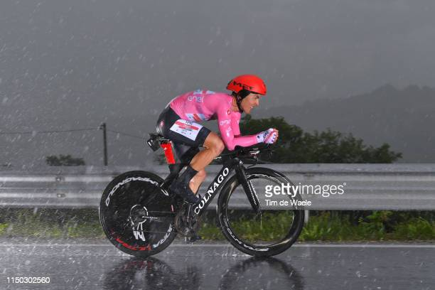 Valerio Conti of Italy and UAE - Team Emirates Pink Leader Jersey / Rain / during the 102nd Giro d'Italia 2019, Stage 9 a 34,8km Individual Time...