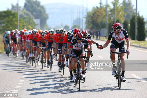 Valerio Conti of Italy and UAE Team Emirates / Vegard Laengen Stake of Norway and UAE Team Emirates / Feed Zone / Peloton / during the 54th...