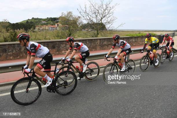 Valerio Conti of Italy, Jan Polanc of Slovenia, Diego Ulissi of Italy, Brandon Mcnulty of United States and UAE Team Emirates Yellow Leader Jersey &...