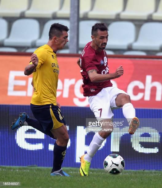 Valerio Foglio of Reggina competes for the ball with Salvatore Molina of Modena during the Serie B match between Modena FC and Reggina Calcio at...