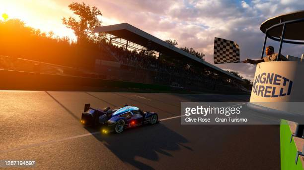 Valerio Gallo of Italy driving the Peugeot takes the chequered flag in race 2 of the FIA Gran Turismo Championship EMEA Regional Finals 2020 run at...