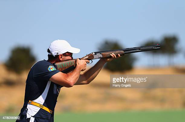 Valerio Luchini of Italy competes during the Mixed Team Skeet Shooting on day ten of the Baku 2015 European Games at the Baku Shooting Centre on June...