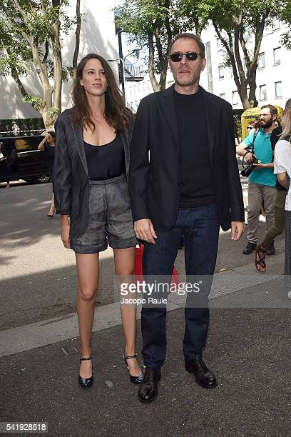 Valerio Mastandrea and Chiara Martegiani arrive at the Giorgio Armani show during Milan Men's Fashion Week Spring/Summer 2017 on June 21 2016 in...