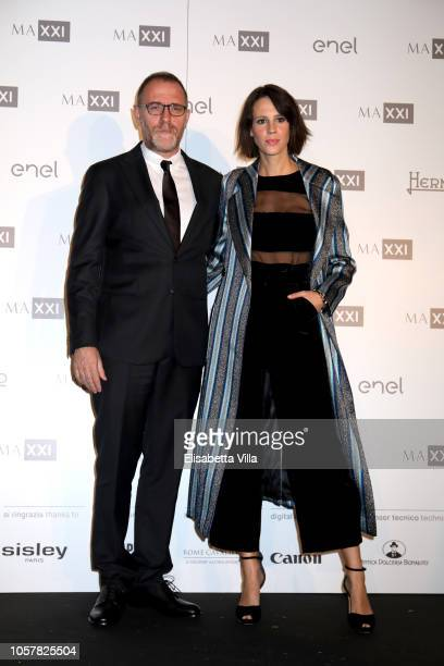Valerio Mastandrea and Chiara Martegiani attend MAXXI Acquisition Gala Dinner at Maxxi Museum on November 5 2018 in Rome Italy