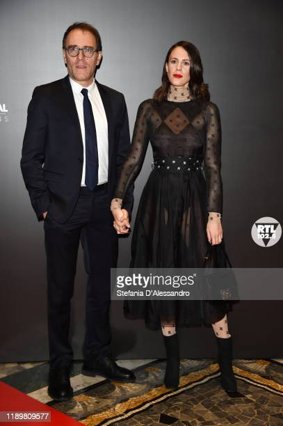 Valerio Mastandrea and Chiara Martegiani attend the Vanity Fair Stories 2019 Awards Photocall at The Space Cinema Odeon on November 23 2019 in Milan...