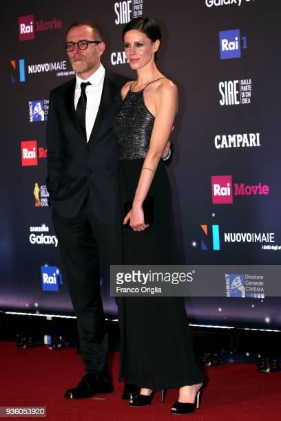 Valerio Mastandrea and Chiara Martegiani walk a red carpet ahead of the 62nd David Di Donatello awards ceremony on March 21 2018 in Rome Italy