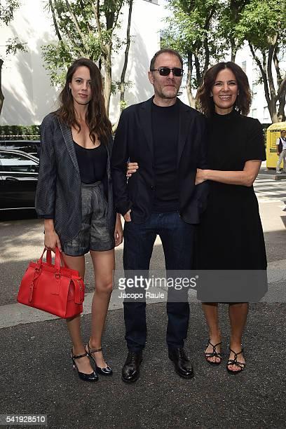 Valerio Mastandrea Chiara Martegiani and Roberta Armani arrive at the Giorgio Armani show during Milan Men's Fashion Week Spring/Summer 2017 on June...