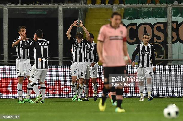Valerio Rosetti of Siena celebrates after scoring the opening goal during the Serie B match between US Citta di Palermo and AC Siena at Stadio Renzo...