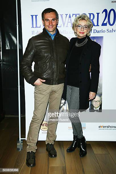 Valerio Rossi Albertini and Enrica Bonaccorti attend the presentation of 'Il Salvatori 2016' song dictionary at Hard Rock Cafe on December 9 2015 in...