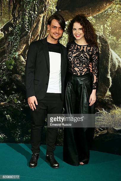 Valerio Scanu and Giulia Luzi attend the 'Il Libro Della Giungla' Premiere at Cinema Barberini on April 12 2016 in Rome Italy