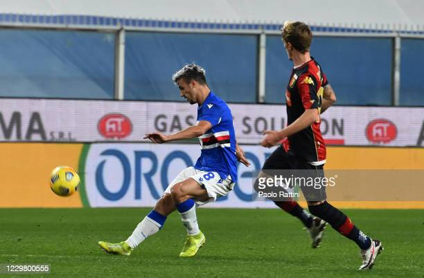 Valerio Verre of UC Sampdoria author of the first goal during the Coppa Italia match between UC Sampdoria and Genoa CFC at Stadio Luigi Ferraris on...
